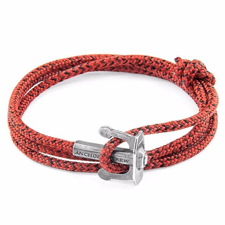 Anchor Crew Red Noir Union Silver Rope Bracelet Boat Pinterest Bracelets