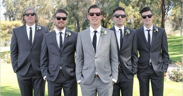 Dark Grey Suit for the Groom and Light Grey Suit for the Groomsmen ...