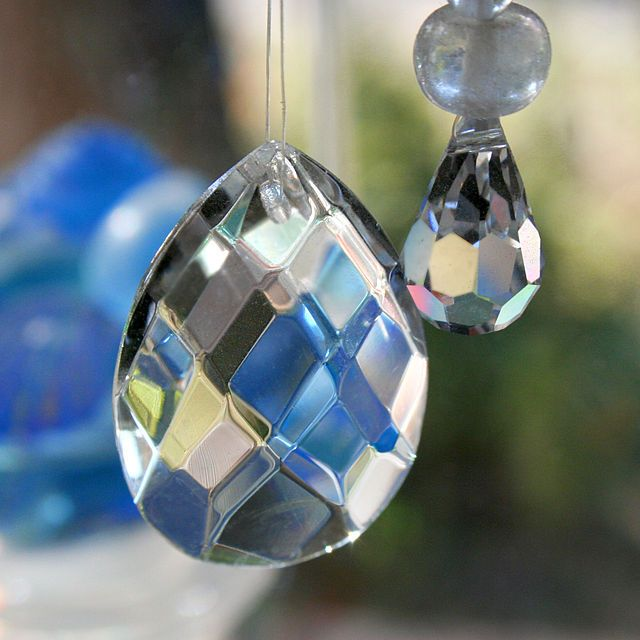 Crystals like these should hang from the ceiling fans or places where the energy 'could be' stagnant, to keep the good energy flowing.