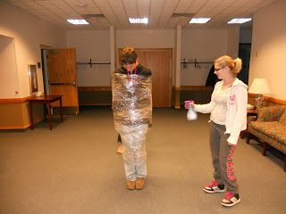Armor of God Activity - wrap student in plastic wrap then spray water on them, it bounces off and the student stays dry.  Then cut slits in plastic wrap and spray water again - Satan knows our weaknesses and will shoot his fiery darts at us and they will penetrate.  Spray water again...