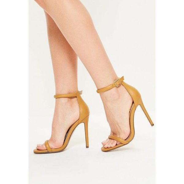 Missguided Yellow Rounded Strap Barely There Heels ($14) ❤ liked on Polyvore featuring shoes, pumps, mustard, high heel pumps, mustard shoes, strappy shoes, high heel court shoes and missguided shoes