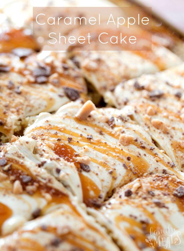 Caramel Apple Sheet Cake Recipe ---- Family Fresh Meals
