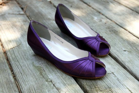 purple wedding shoes wedge low heel 1 inch wedge shoes