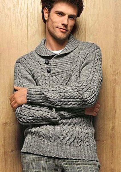 Вязаный пуловер с воротником на пуговицах