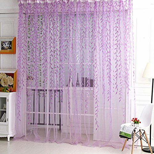 """Norbi Willow Voile Tulle Room Window Curtain Sheer Voile Panel Drapes Curtain 39.4'' x 78.8"""" L (Purple 2)"""