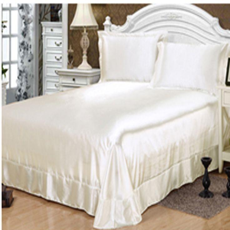 100% Satin Silk bedding sets,bed linen White Satin bedspread pillowcase bed sheet set,juegos ropa de cama sabana ajustable