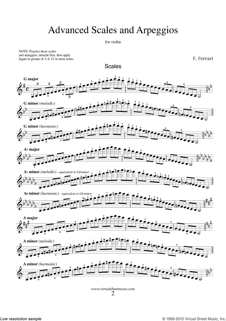 Ferrari - Advanced Scales and Arpeggios sheet music for violin solo