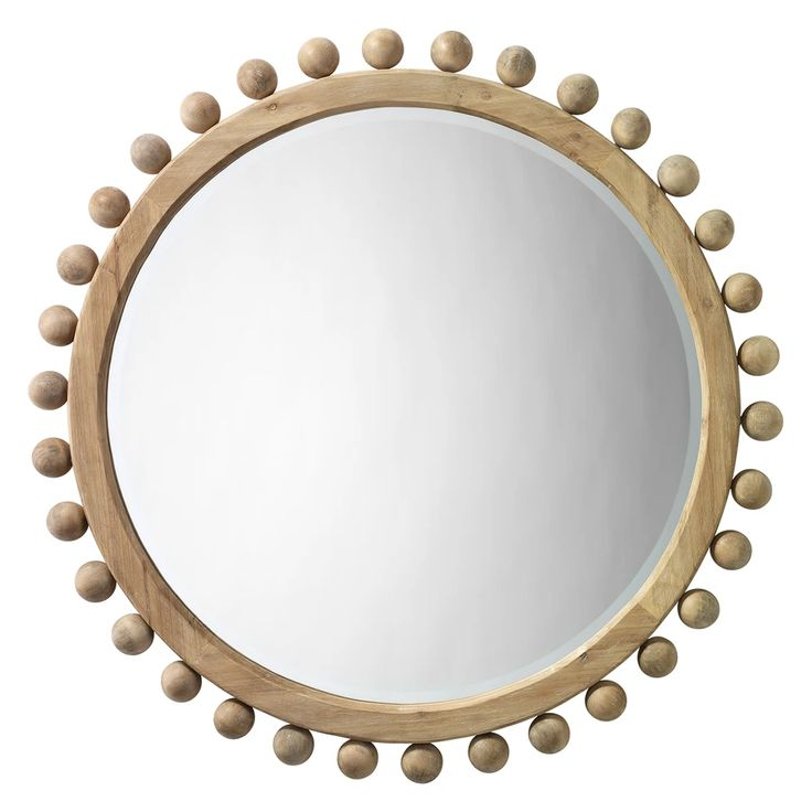 Wood Wall Mirror Wooden Round, Natural Carved Wood Round Mirror