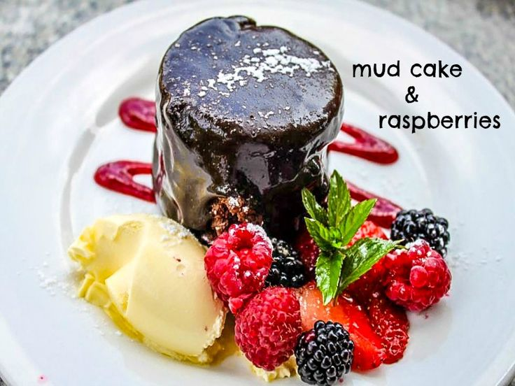Visit the Raspberry Farm in Tasmania, Australia for this awesome mud cake with raspberies!