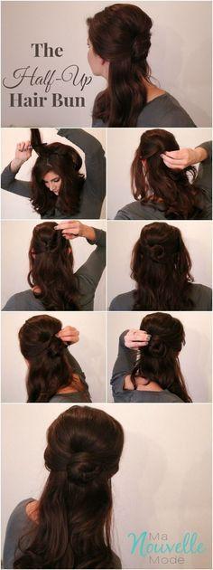 Belle's elegant half-up bun | Community Post: 7 Easy Hair Tutorials Even Disney Princesses Would Envy