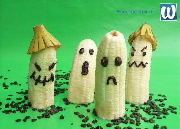 Een origineel Halloween hapje of kindertraktatie: halloween spoken van banaan. - Instructies - Weethetsnel.nl