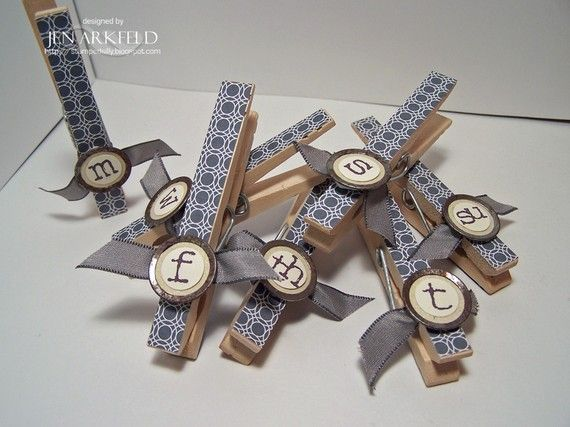 Days of the Week Clothespin Magnets