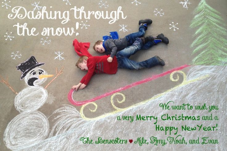 Get creative and make your own Christmas photo backdrop on your driveway with chalk!