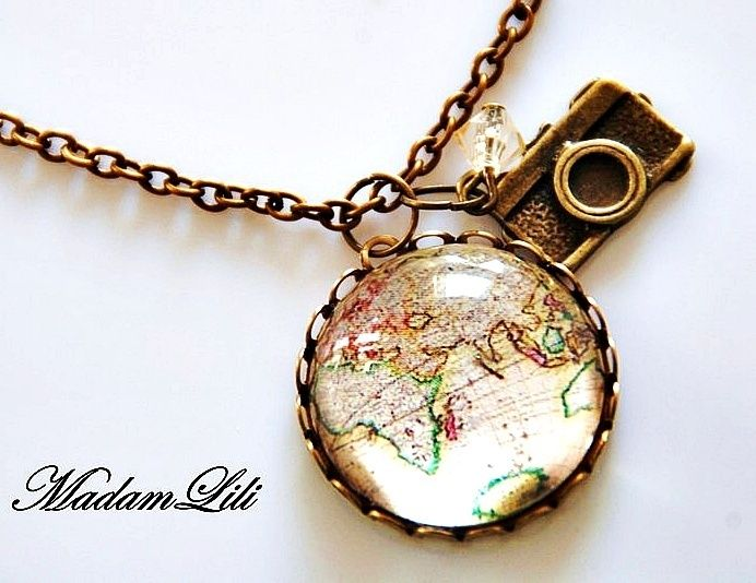 "Nostalgic bronze necklace with bronze ""Vintage Worldmap"" collage pendant, camera charm and faceted glass bead.     Pendant with glass-finish and glass"