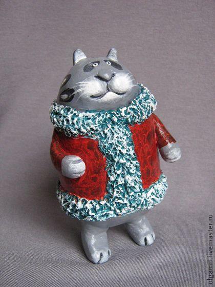 """Статуэтка """"Зимняя прогулка"""" - серый,подарок,кот,котик,Керамика,интерьерная игрушка"""