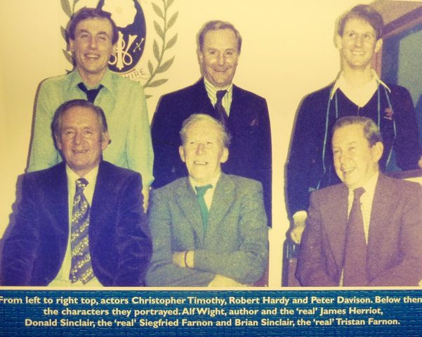 Christopher Timothy, Robert Hardy & Peter Davison with the characters they portrayed, James, Siegfried & Tristan.