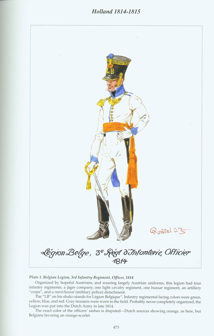 Dutch officer, Belgian Legion, 3rd Infantry Regiment, 1814 - 1815.