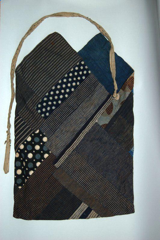 Cotton patchwork bag, indigo, Japan, Meiji period