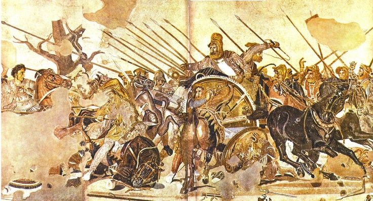 Alexander the Great Confronts Darius III at the Battle of Issus, 1st century CE floor mosaic from Pompeii, Italy, copied after a Greek painting of c. 310 BCE, Tesserae mosaic