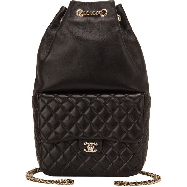 Chanel Black Lambskin Large Backpack ❤ liked on Polyvore featuring bags, backpacks, knapsack bag, lambskin bag, day pack backpack, chanel and rucksack bags