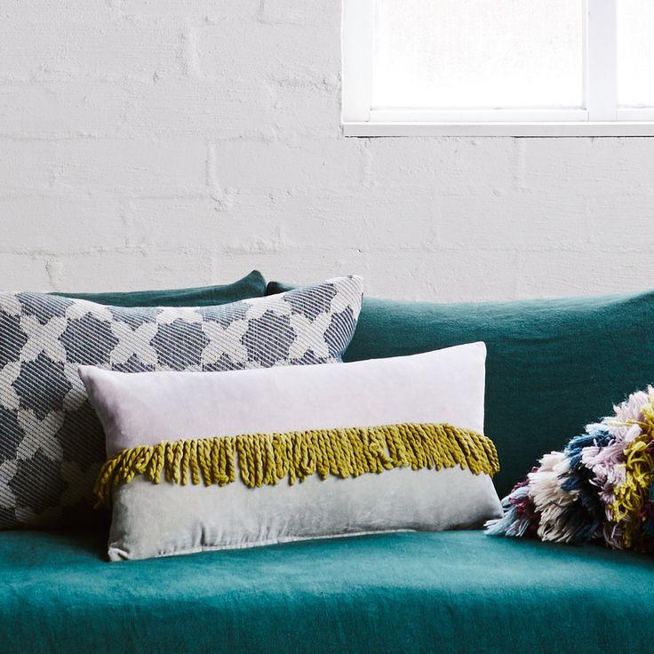 Colour Block Velvet Tassle Cushion