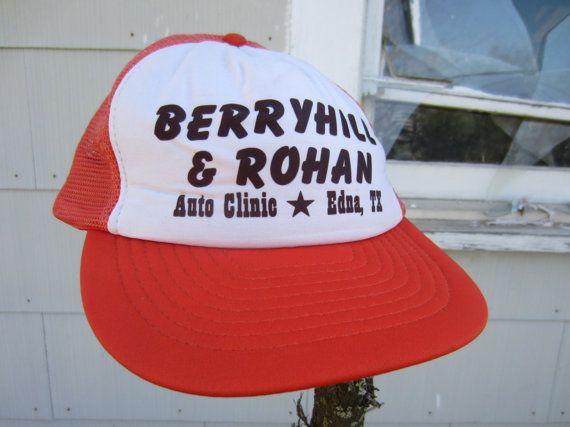80s Tangerine Texas Mechanic Trucker Hat // Berryhill & Rohan Auto Clinic Ball Cap // Texas Trucker Hat