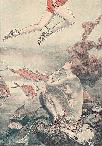 Mermaid peeks at swimmer
