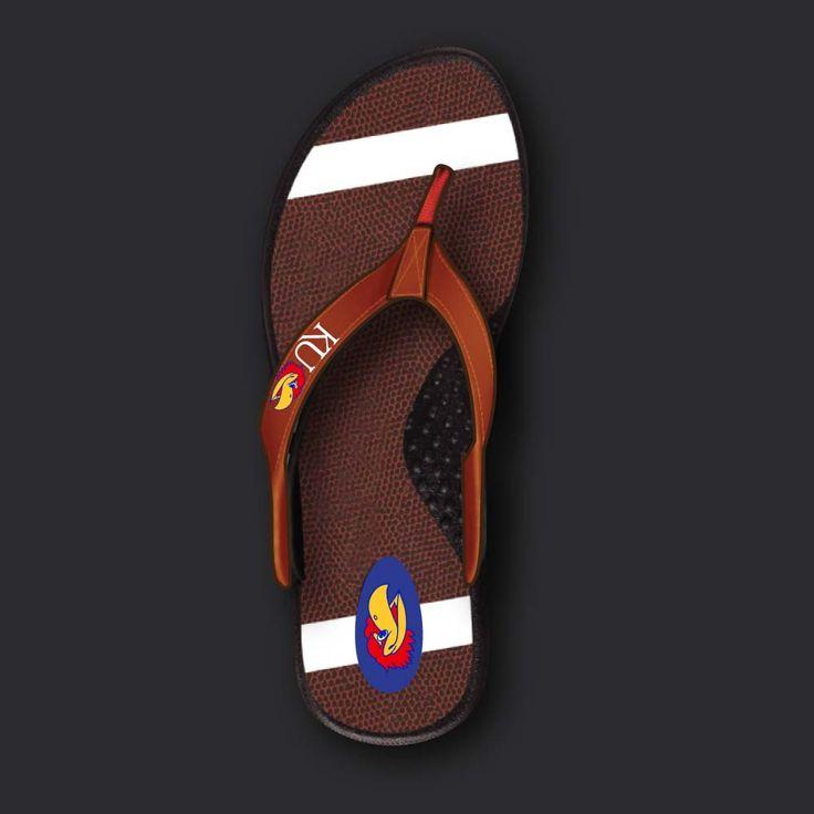 Kansas Football Flip Flops