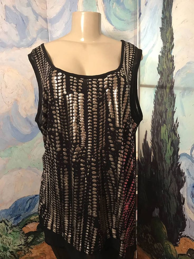 53923f54bad11 A.n.a Plus 2X New Black Metallic Print Scoop Neck Sheer Step Hem Tunic Tank  Top. Formal TopsCasual ...