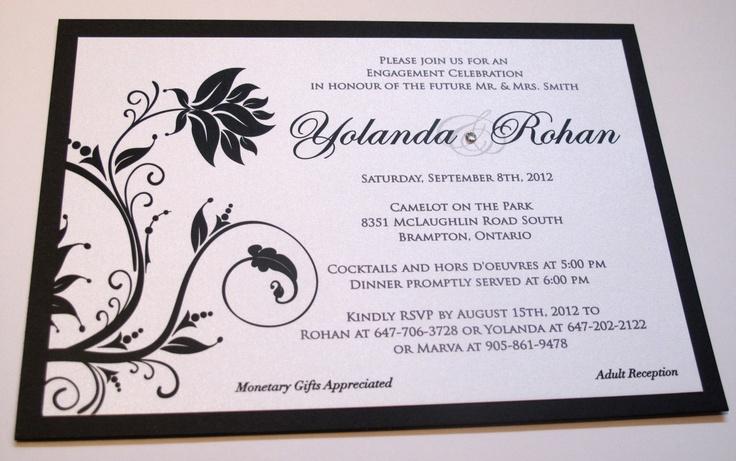 Ingledew Invites - Black and White Floral Engagement Invitation