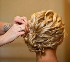 Glamorous Updo for Medium Length Curly Hair