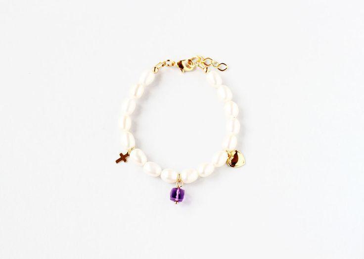 February Birthstone First Communion Bracelet, Girl Communion Bracelet, Communion Jewelry Gift, First Communion Keepsake, Birthstone Gift Kid by ILgemstones on Etsy