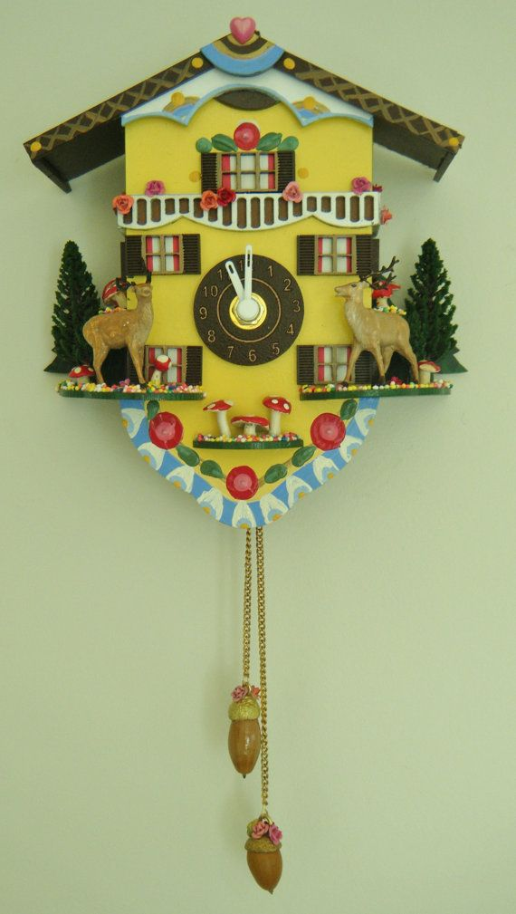 handmade wooden chalet clock hand painted mdf wood decorated with deer mushrooms trees - Feldstein Kaminsimse