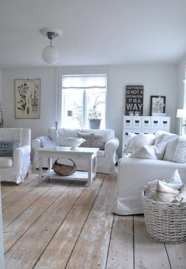 Floor.  I love all the light furniture.  Bring in bright/muted pops of colour with cushions, bowls/vases, throws.
