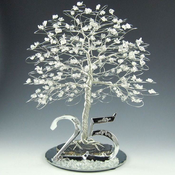 Ideas For 25th Wedding Anniversary Gift: 25th Anniversary Tree Cake Topper Or Centerpiece. $165.00