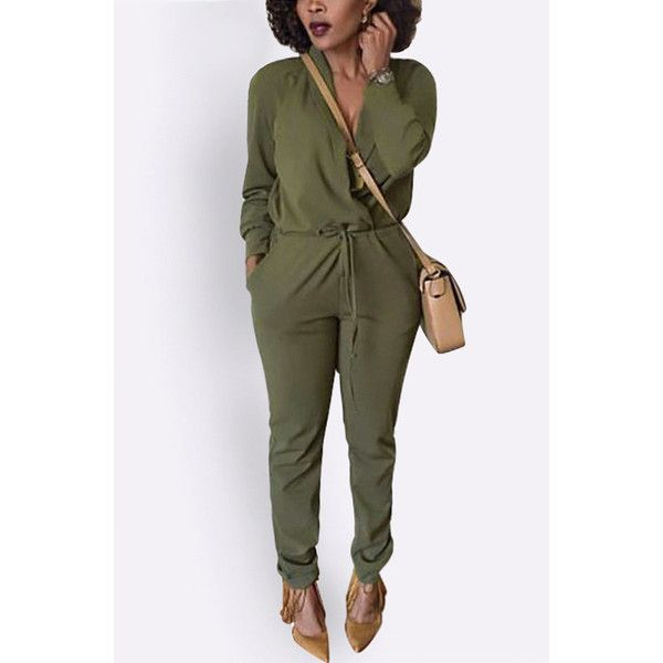 Yoins Green Casual V-neck Long Sleeves Cross Front Jumpsuit With... ($25) ❤ liked on Polyvore featuring jumpsuits, green, green jumpsuit, long sleeve jumpsuit, green long sleeve jumpsuit, jump suit and v neck jumpsuit