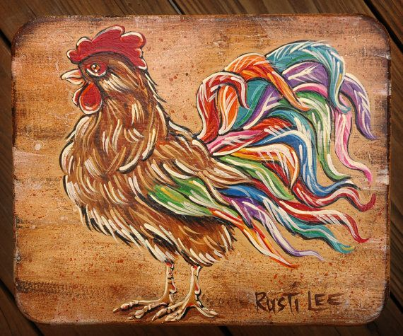 Rooster Hand Painted Stool by Rustilee on Etsy, $70.00