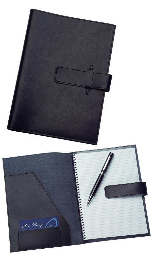 9103 A5 Leather Folder in Black