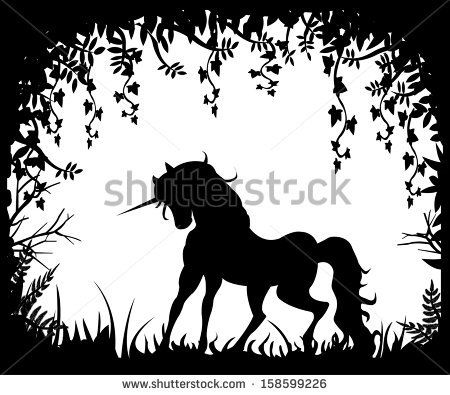 Unicorn silhouette on a background of nature - stock vector