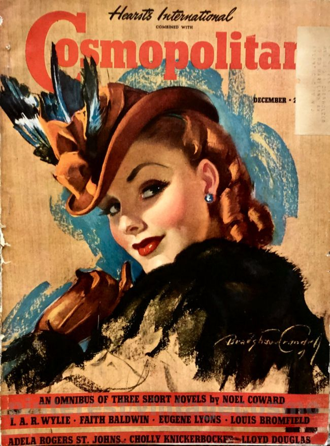 "Cosmopolitan magazine, DECEMBER 1939 Model: Phyllis Brown (with red hair) Artist: ""Coquette"" Bradshaw Crandell."