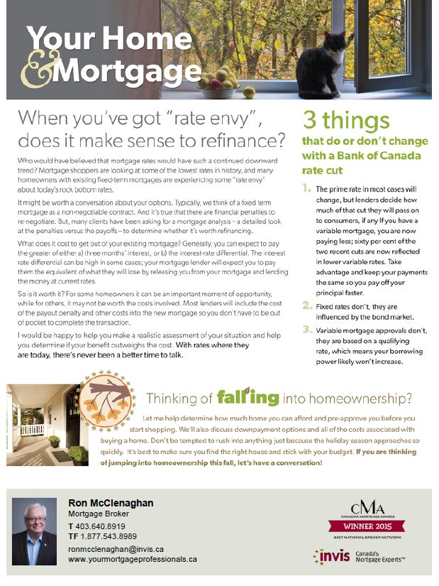 """When you have """"rate envy"""" does it make sense to refinance. We can help you make that decision. #yyc #realestate"""