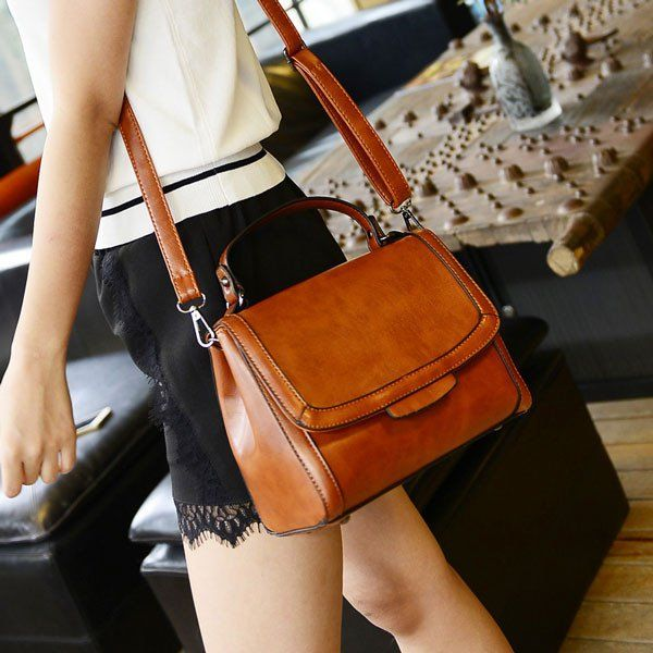 Retro Brown Handbag Messenger Bag Shoulder Bag