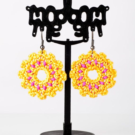 Flower Pink and Yellow Dangle Earrings Hand Crochet by ModmeStyle