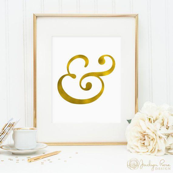 Gold foil ampersand, printable wall art decor, minimalist art, faux gold foil, art for office, bedroom decor, instant digital download JPG by JaclynRoseDesign