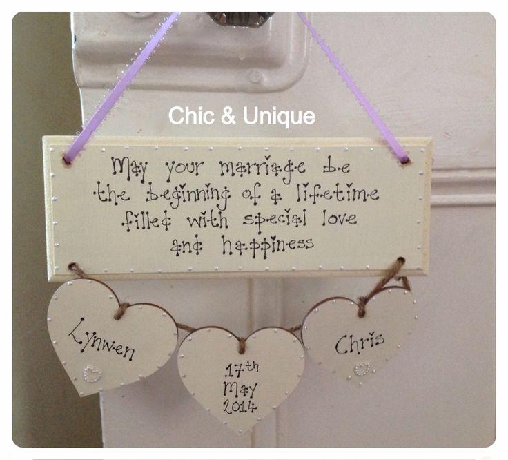 Wedding gift - wooden hanging plaque keepsake