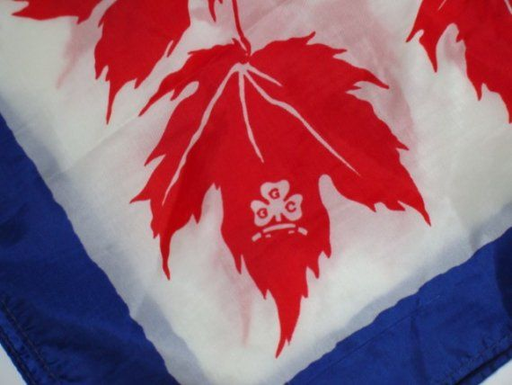 Vintage Girl Guides of Canada Scarf - Red Maple Leaves with Blue Border