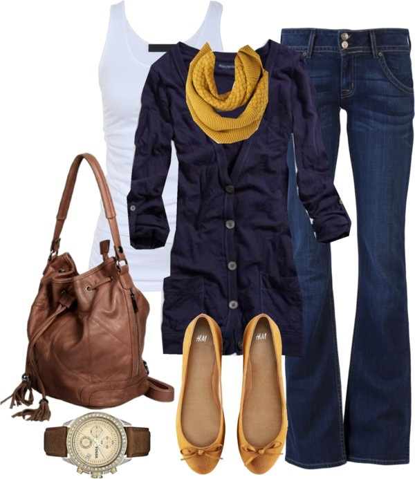 Casual yet polished look.