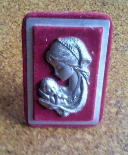 Pewter plaque on red satin frame. Sold Продано