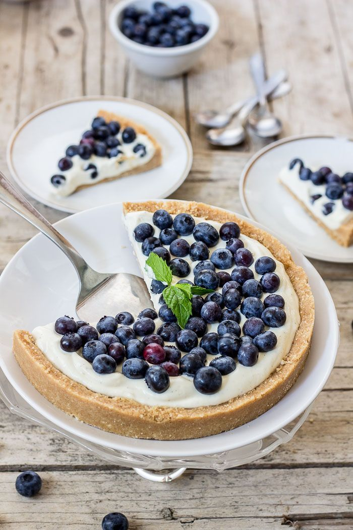 no-bake blueberry cheesecake with a cookie crust
