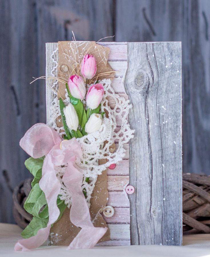 Сделать бумаги, открытка с букетом цветов скрап
